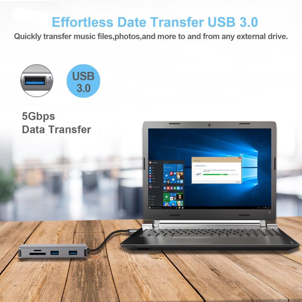 9 En 1 Tipo C Thunderbolt 3 Hub 4 K USB C a HDMI adaptador RJ45 Ethernet lector de tarjeta SD adaptador - 3