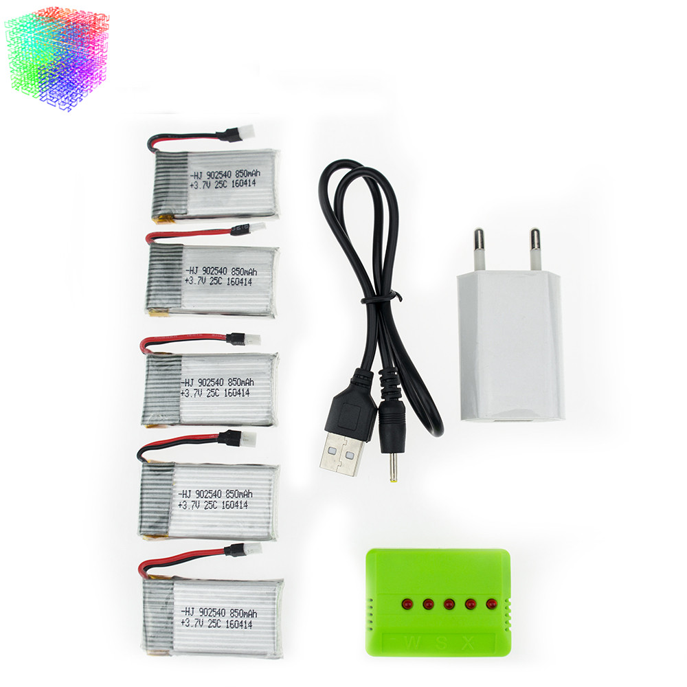 Syma x5 rc 3.7V 850mah Lipo battery 5pcs and green charger with plug for x5sw x5sc cx30 cx30w Helicopter Quadcopter drone part rc drone lipo battery 850 mah li po battery for syma x5c x5sw with 5in1 charger box for x5 x5a x5sc x5sw mjx x705c x6sw