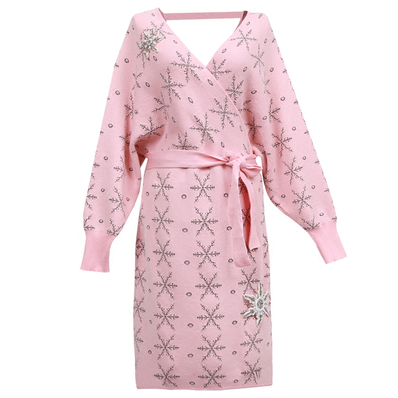 High Quality pink dress women fashion 2018 designer Knitwear V neck Knitted Mini Snow Diamonds Sweater Bandage Dress OM346