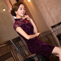 TIC-TEC chinese traditional dress women cheongsam short qipao vintage lace embroidery elegant oriental dresses wedding P3014
