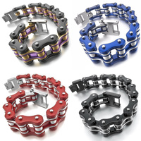 Men's Stainless Steel Bracelet Link Wrist Silver Tone Red Blue Black Hollow Openwork Motorcycle Mens Chain Link Bracelet