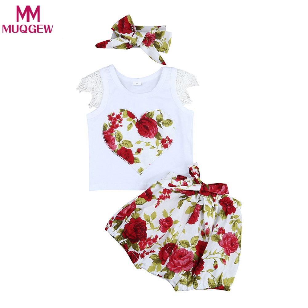 3PCS Set Baby Girls Clothes 2018 Summer Toddler Kids Lace Floral Heart Tops+Bloomer+Headband Outfits Children Girl Clothing Set 3pcs outfit infantil girls clothes toddler baby girl plaid ruffled tops kids girls denim shorts cute headband summer outfits set