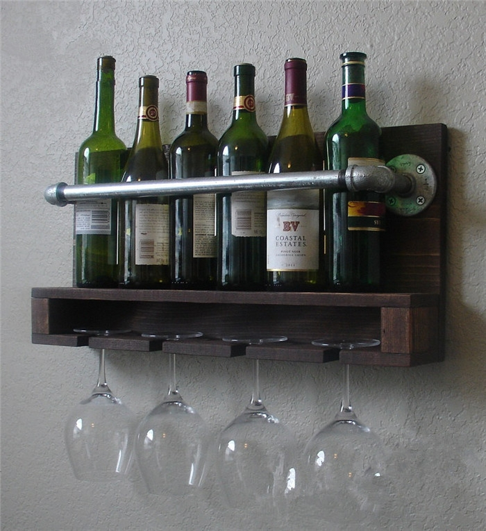Nordic Ikea Wood Grilled Retro Color Wall Mounted Wine Racks