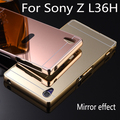 Lujo del Metal de aluminio caso híbrido para Sony Xperia Z L36H C6603 espejo duro protector de la contraportada para Sony Z cáscara del teléfono