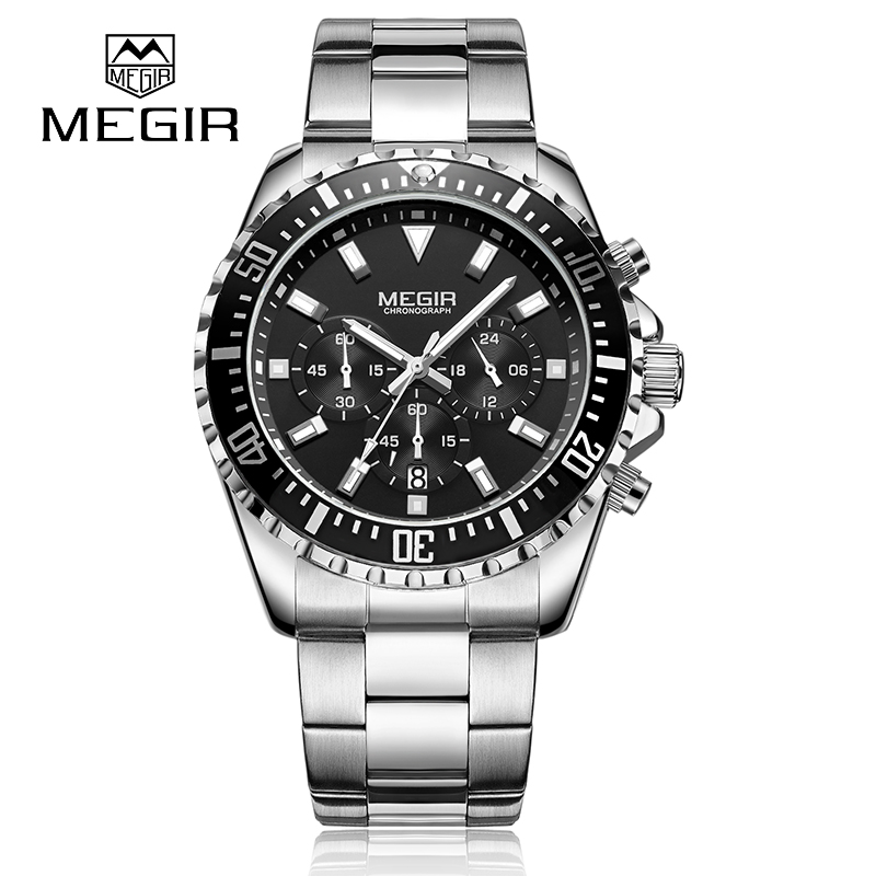 Mens Watches Top Brand Luxury MEGIR Chronograph Stainless Steel Bussiness Male Wristwatches Relogio Masculino