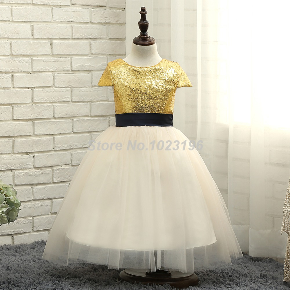 87fdab59ce4 2016 Adorable Gold Sequins Light Champagne Bottom Flower Girl Dresses Navy  Sash Tea Length Little Girl First Communion Dresses-in Flower Girl Dresses  from ...
