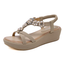 New 2019 fashion womens sandals bohemian metal rhinestone flowers with large size comfortable casual platform shoes