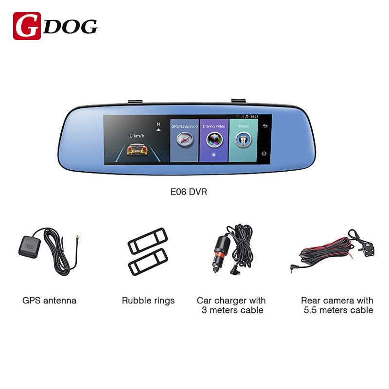 Gdog E06 4G Car DVR 7.84 Touch ADAS Remote Monitor Rear view mirror with DVR and camera Android Dual lens 1080P WIFI dashcam