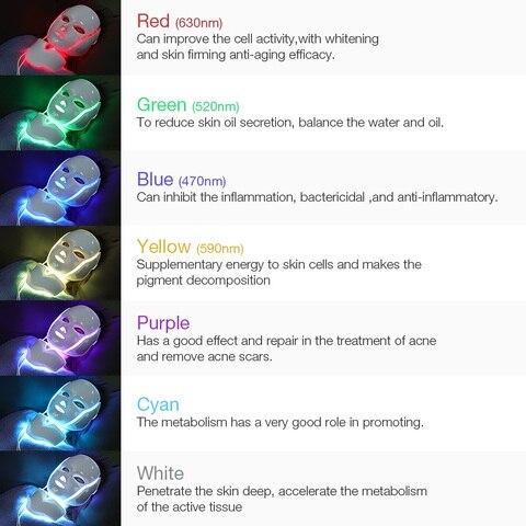 led 7 cores luz photon terapia microcorrente