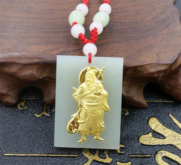 New natural white agate calcedony hand carving guan gong amulet pendant necklace