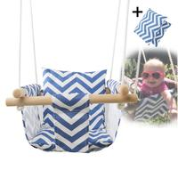 Baby Swing Hammock Seat Canvas Hanging Chair with Cushion Todder Outdoor Indoor Wooden Swing Rocker