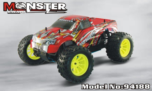 HSP 94188 4WD 2.4G 1/10 Scale Professional Nitro Power Advanced Off Road Monster car Truck Pivot Ball Suspension P2 hsp 94188 rc car nitro 4wd 1 10th off road monster buggy high speed 1 10 truck p2