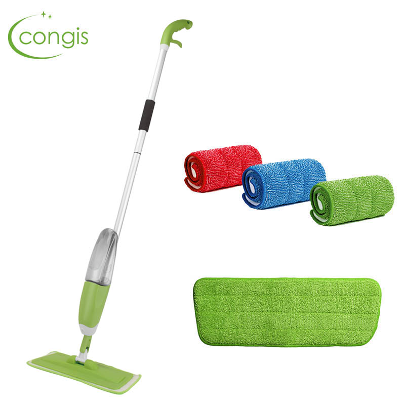 Congis Spray Mop with 3pcs Reusable Microfiber Pads replace Flat Floor mops for house cleaning kitchen clean tools