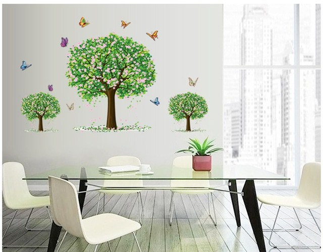 Tree Beautiful Butterflies And Nature Joy Photo Wall Sticker Wall Decal  Poster Photo Green Life Base