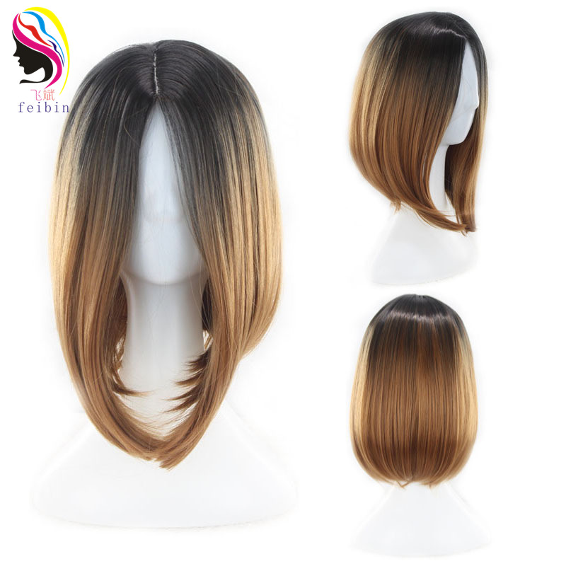 Feibin Synthetic Short Wigs For Women Straight Ombre Brown Gray