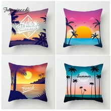 Fuwatacchi Cartoon Style Cushion Cover Oceanside Tropical Plant Printed Pillow Summer Decorative Pillows For Sofa Car Home
