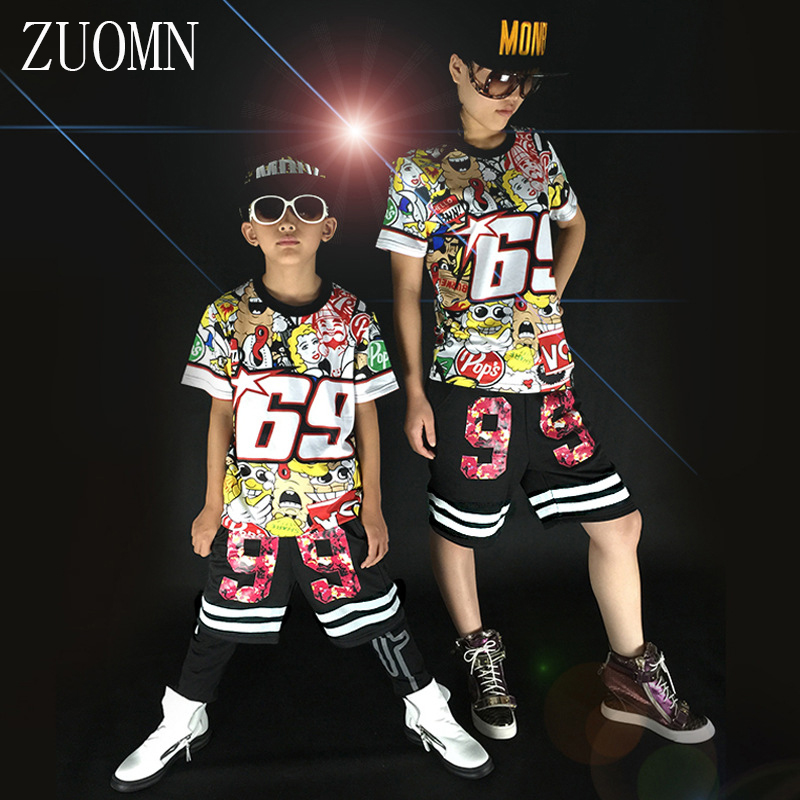Students Jazz Dance Clothes Suit Boys Girls Hip-hop T Shirt Sets Kids Street Costume graffiti Clothes Sets YL483 new kids dancewear set boys girls sequined stage performance costume modern jazz hip hop dance wear top