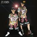 Students Jazz Dance Clothes Suit Boys Girls Hip-hop T Shirt Sets Kids Street Costume graffiti Clothes Sets YL483