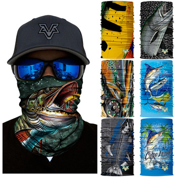 3D Fishing Bandanas  Scarf Cycling Face Mask bandana Bicycle scarf  Shield Fish mask  scarf  Sunscreen Camping Outdoor sports