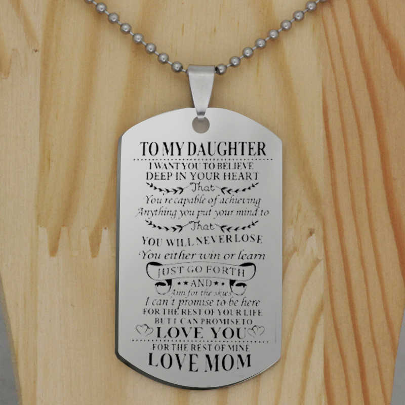To My Son Daughter I Want You To Believe Love Dad Mom Dog Tag Military Keychain Family Jewelry Birthday Gift for Kids YLQ6268