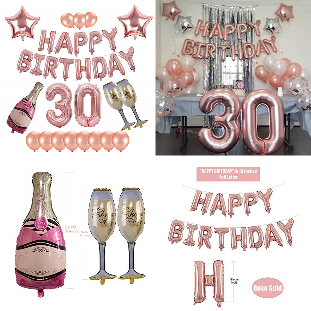 Cheers <font><b>30</b></font> 40 50 60 Birthday Party <font><b>Decorations</b></font> Adult Champagne Bottle Balloon Rose Gold Happy Birthday Balloons Set Supplies image