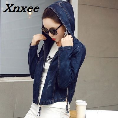 Denim   Jacket   Women Jeans   Basic     Jacket   Coat Hooded Outwear Slim Short Warm Overcoats Jeans Denim Female Coats &   Jackets   Xnxee