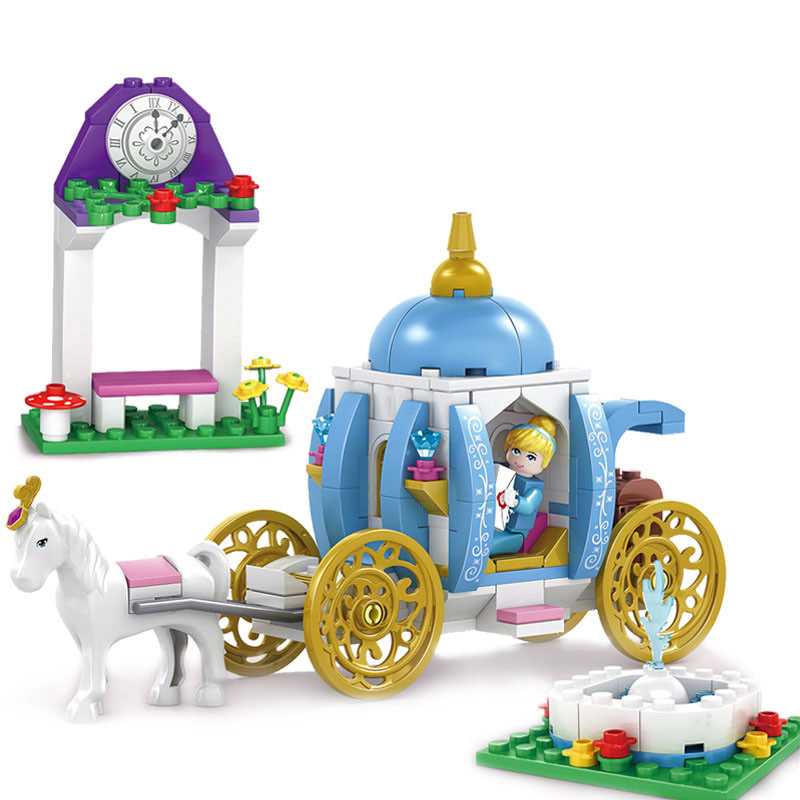 Kazi 238pcs Pumpkin Carriage Building Blocks Toys Girls Cinderella Romantic Friends Playmobil Bricks Toys For Children