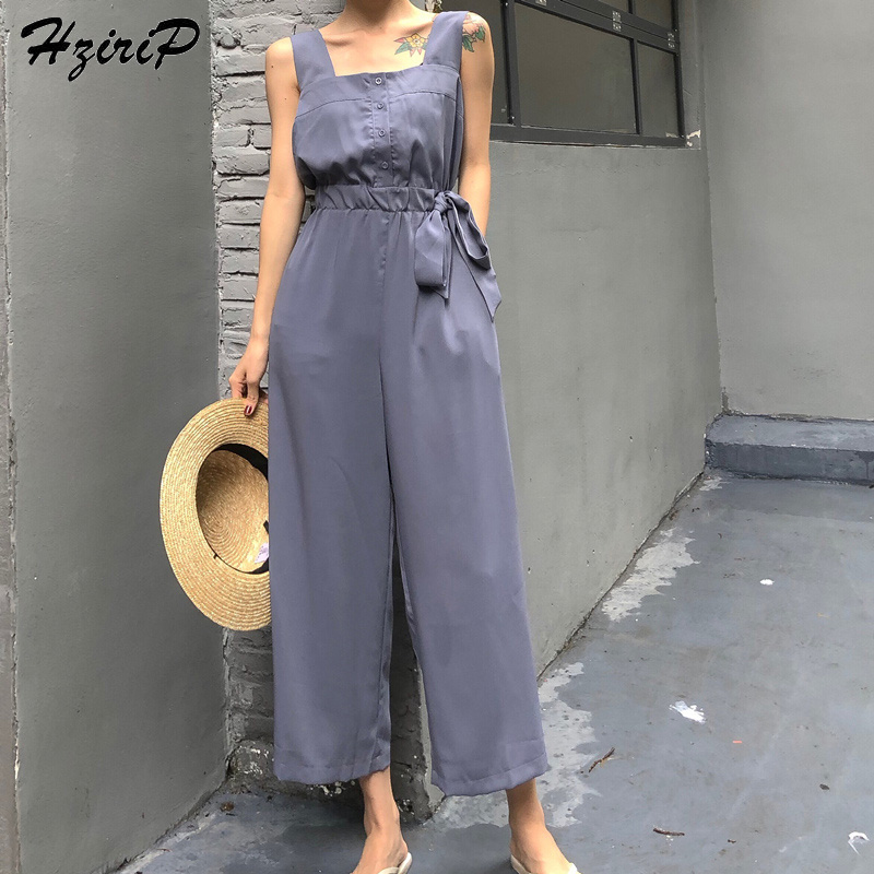 HziriP Sexy Jumpsuit Women Romper 2018 Summer Loose Solid Elegant Party Square Neck Sexy Playsuits Sleeveless Long Pant Overalls 1