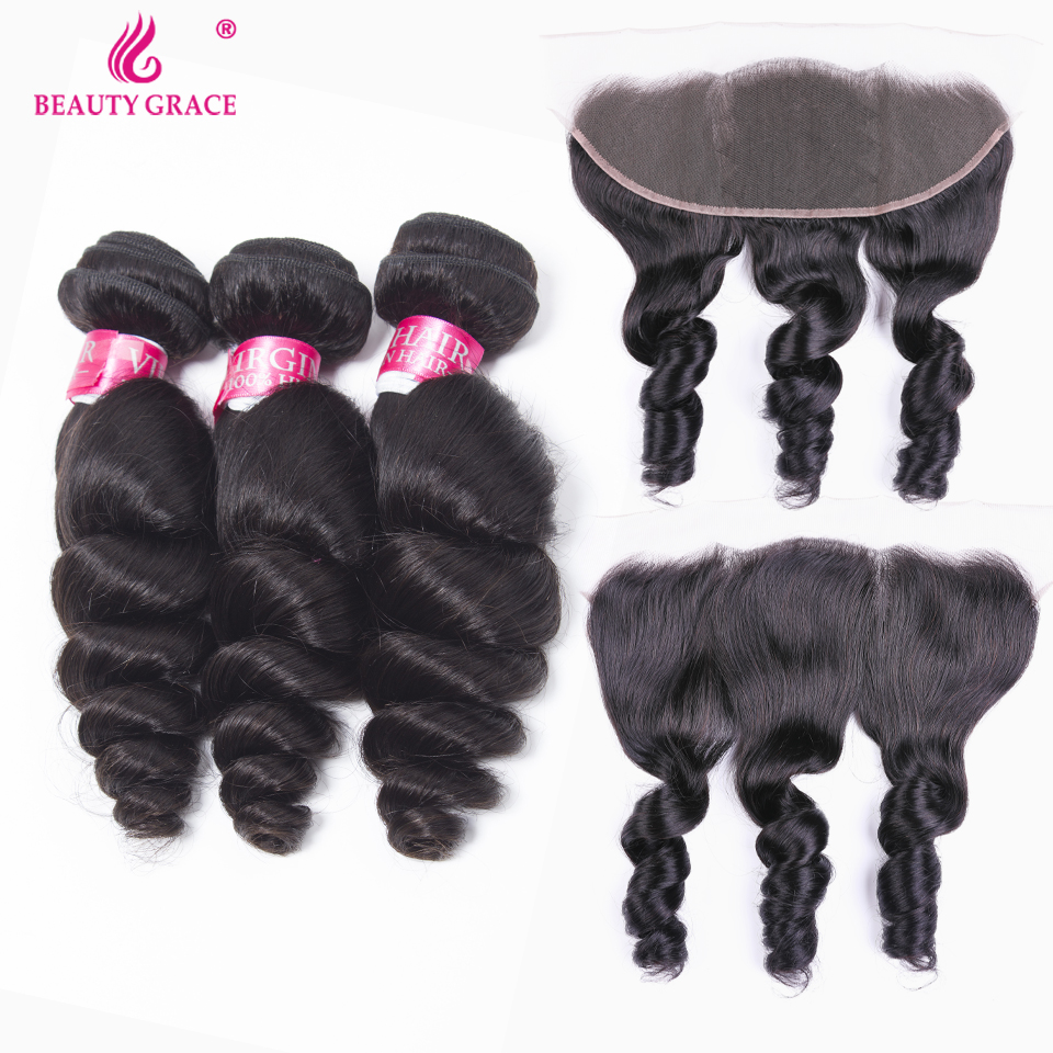 Beauty Grace Hair Brazilian Loose Wave Bundles With Frontal 100% Human Hair Weave Non Remy Brazilian 3 Bundles With Frontal