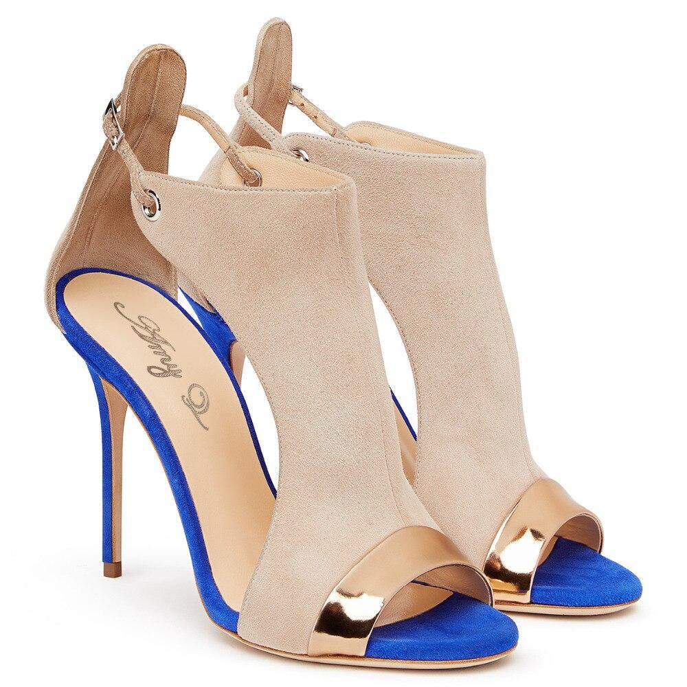 Women's sandals that hide bunions - Padegao 2017 Fashion Faux Leather Flock Cover Heels Women Sandals Mixed Color Peep Toe Shoes Plus