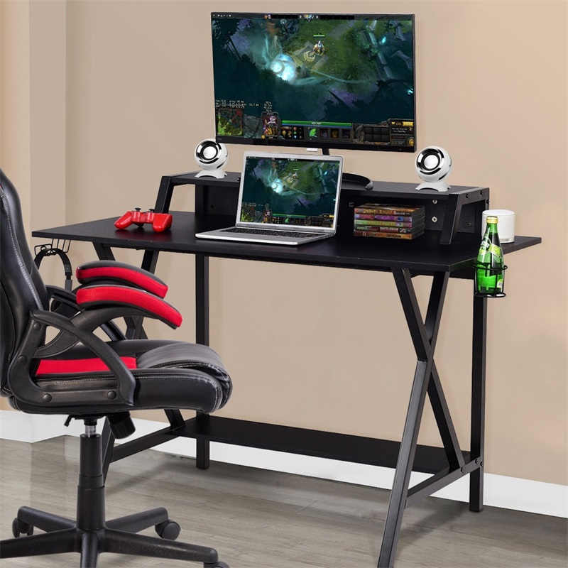 All-in-One Professional Gaming Desk With Cup Headphone Holder Black Study Home Office Computer Table Multi-function HW58800