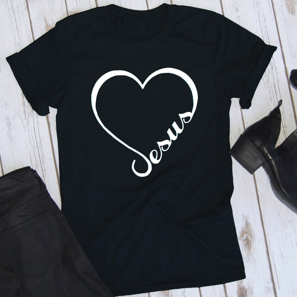 ef232c7cf9b3 Love Jesus Graphic Tees Women T-shirts Summer Fashion Shirts Christian  Clothes for Dropshipping