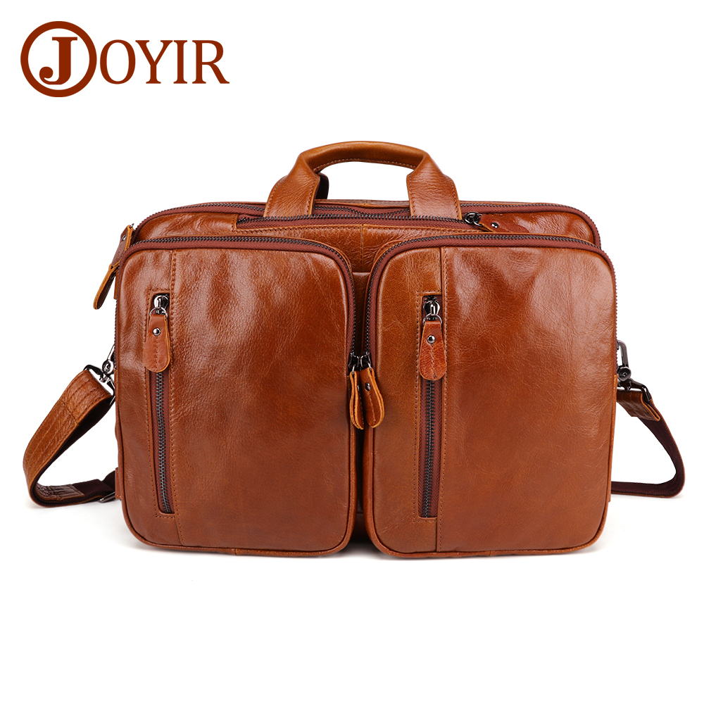 JOYIR Genuine Leather Men's Briefcase Large Capacity Shoulder Crossbody Bag High Quality Male Briefcase Multi-function Briefcase