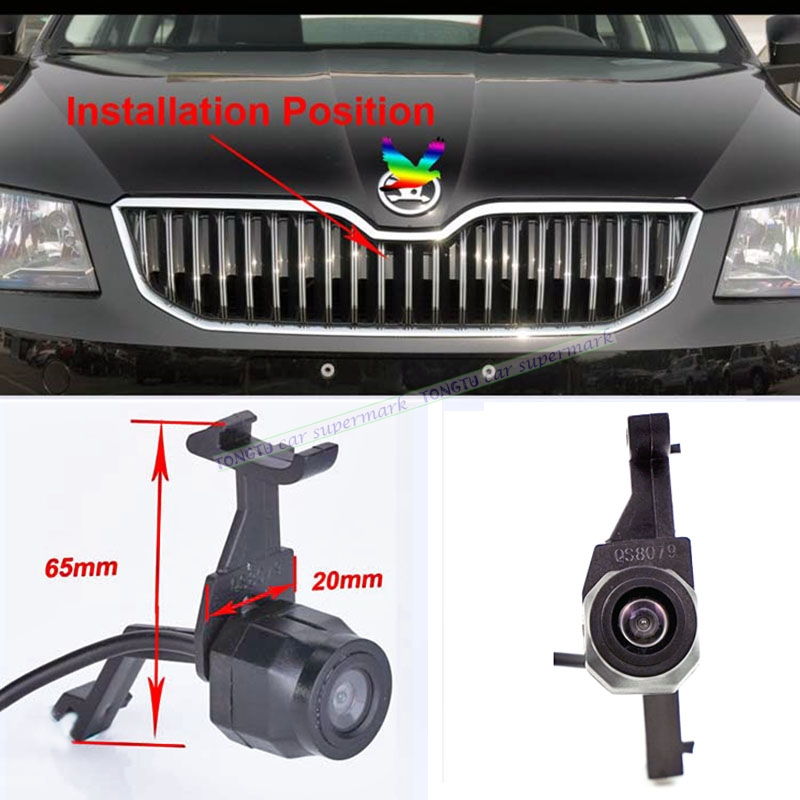 Car Parking Front Emblem logo CCD night vision Camera For Skoda Octavia 2015 front view positive camera in stock car front camera parking system waterproof wide angle ccd hd color for hyundai logo front camera mark emblem camera