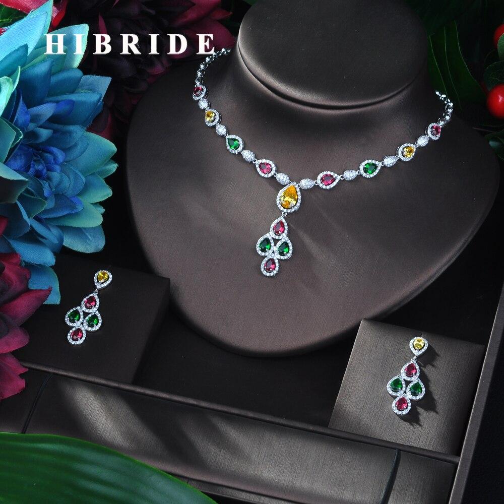 HIBRIDE New Arrival 2pcs Set Multicolor Top AAA Cubic Zirconia Ladies Best Gift Drop Earrings Pendant