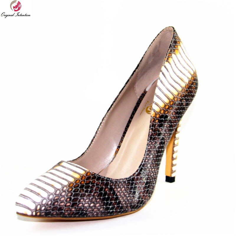 Original Intention Super Stylish Women Pumps Sexy Pointed Toe Thin High Heels Pumps Nice Snake Shoes Woman Plus US Size 4-10.5