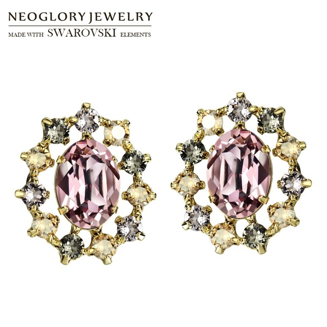 Neoglory Made With Swarovski Elements Crystal Stud Earrings Trendy Vintage Oval Baroque Style For Lady Party