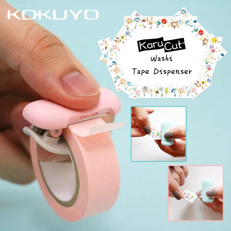 1PCS Cute Japanese Stationery Mini Washi Tape Dispenser Kawaii Portable Plastic Office Scotch Tape Cutter <font><b>School</b></font> Supplies