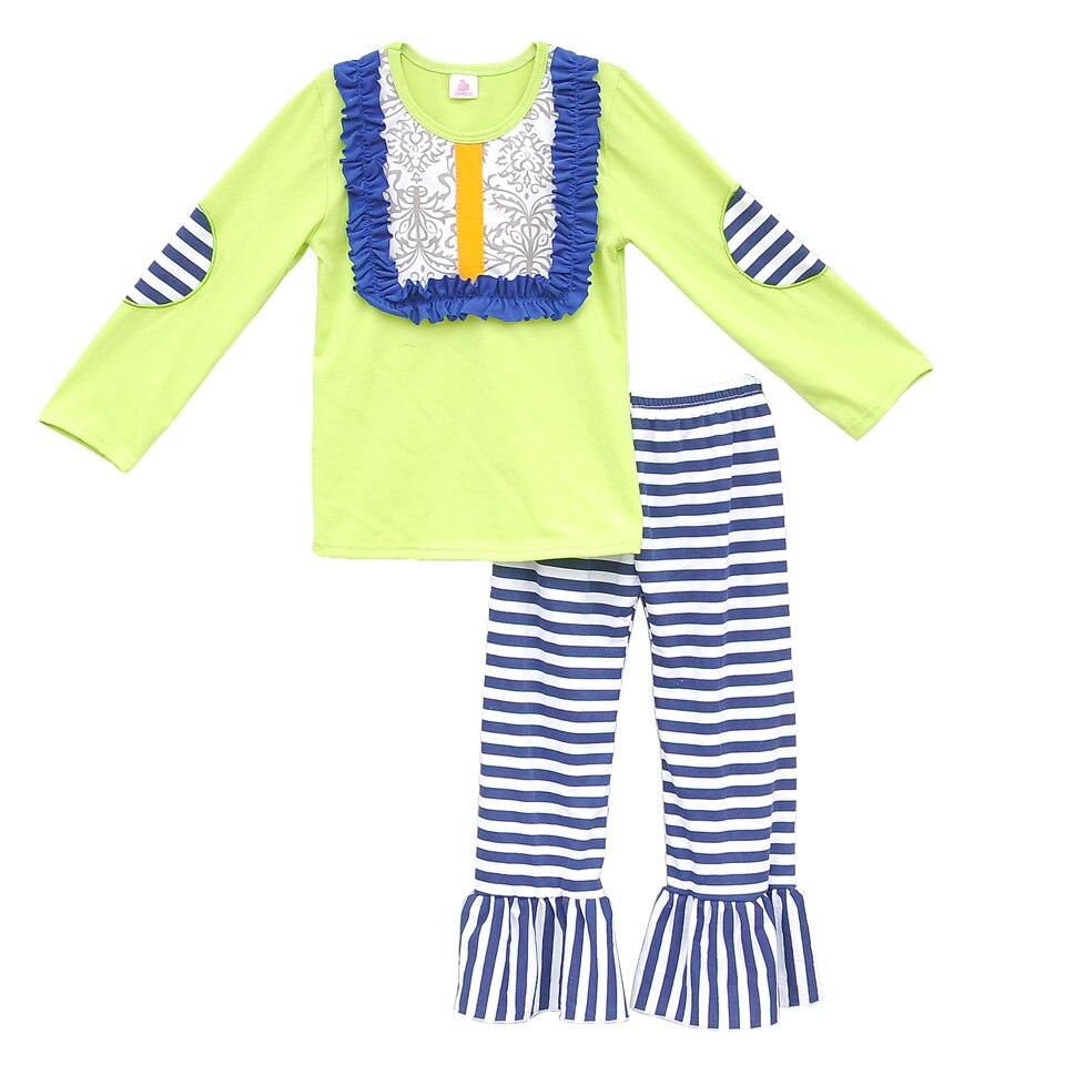 цена  New Spring Children Girls Bib Clothing Sets Embroidery Sleeves T Shirt Stripes Pants Kids 2 Pcs Suit Ruffled Baby Clothes F006  онлайн в 2017 году