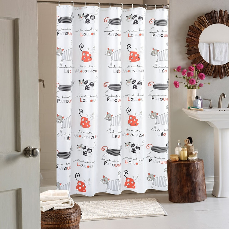 Cute Cartoon Cat Design Waterproof Bathroom Shower Curtains with Hooks Bathroom Product Bath Curtain Home Decor sequins mermaid waterproof polyester shower curtain with hooks