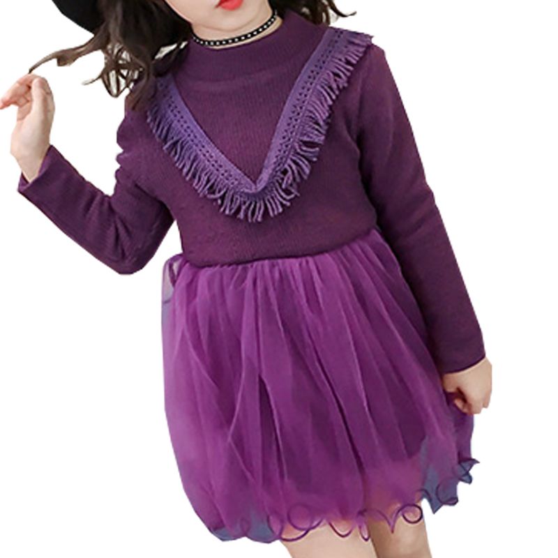Halilo New Girls Winter Dress Thicken Warm Long Sleeve Kids Christmas Dresses For Girls Knitted Mesh Patchwork Girl Party Dress