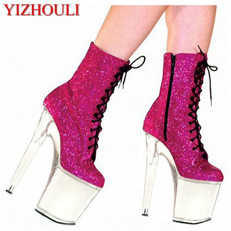 20cm Thin Heels High-Heeled Shoes Ultra High Platform Boots Paint Evening Shoes Plolicy Women's Shoes 8 Inch Sexy Ankle Boots 20cm sexy ultra high heeled platform shoes performance shoes platform black pu leather single shoes 8 inch fashion crystal shoes