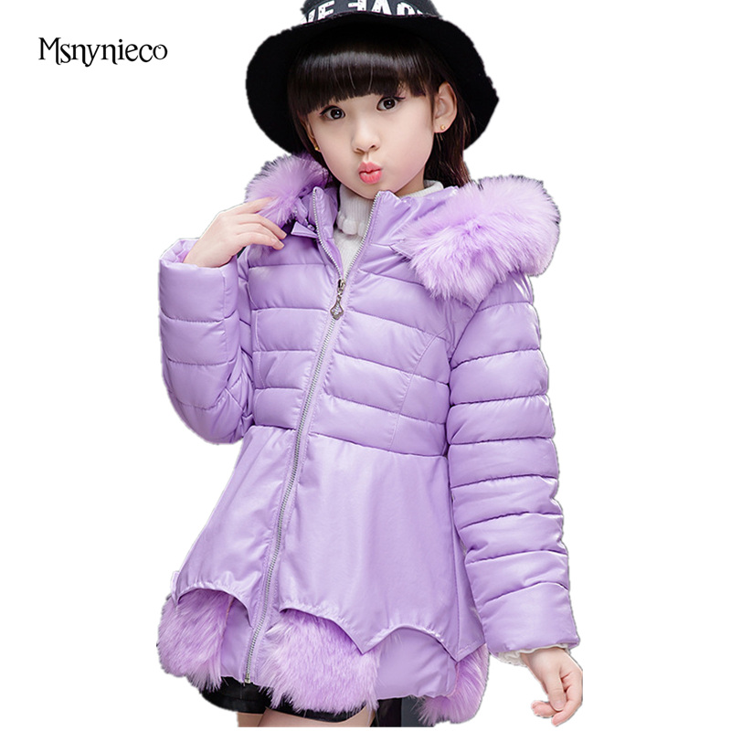 Kids Winter Jackets for Girls Clothing Thicken Hooded Children Outerwear 4 6 8 10 Years 2017 Brand PU Leather Warm Girls Parka