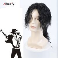 Allaosify Cosplay Michael Jackson Long Wavy Black Wig Fashion Middle Heat Resistant Synthetic Cosplay Anime Wig