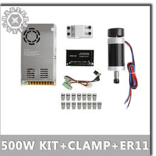 DC 500 W/0.5KW ER11 55MM Brushless CNC ציר מנוע + DC20-50V מנוע צעד נהג + DC48V כוח אספקת + 55MM מהדק + ER11 קולט סט(China)