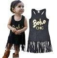 DHL EMS Free New Hot Sale Toddler Kids Baby Girls dress Sleeveless Tassel Mini Dresses Letter Boho Print summer clothes