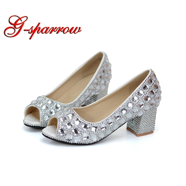7e82c82a533e Peep Toe Wedding Shoes Silver Rhinestone Middle Heel Summer Sandals Open  Toe Chunky Heel Bridal Dress Shoes Cinderella Pumps