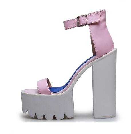 Stylish Ankle Strap Thick Heel Sandals for Women High Platform Leather Sandal Pink Black White Chunkly Heel Dress Shoes pepita пляжное платье