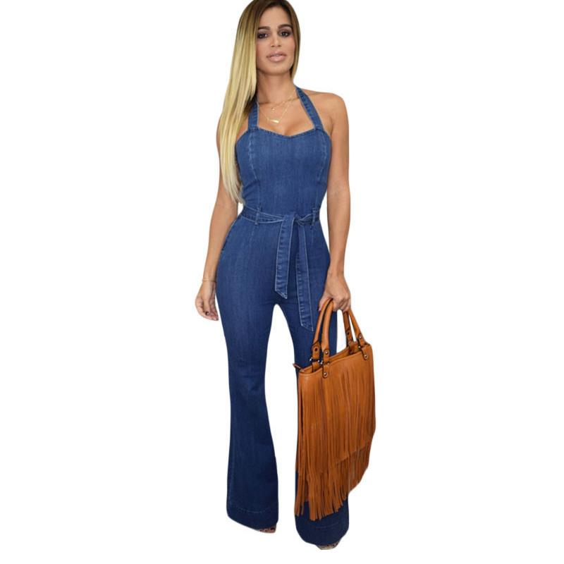 Popular Halter Denim Jumpsuit-Buy Cheap Halter Denim Jumpsuit lots ...