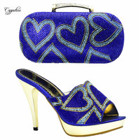 Excellent royal blue women sandals and bag to match set for party Italian design thin high heel shoes and handbag set XY10